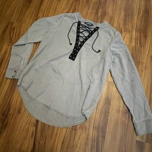 Express Gray Lace Up Top
